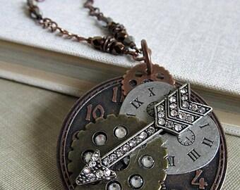 Arrow Pendants, Rhinestone Arrow, Gears & Arrow Medallion, Arrow w Gears Necklace, Boho Rustic Pendant, Long Necklaces, Rhinestone Arrow