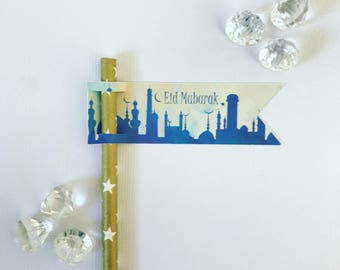 Eid Mubarak pencil/straw flags