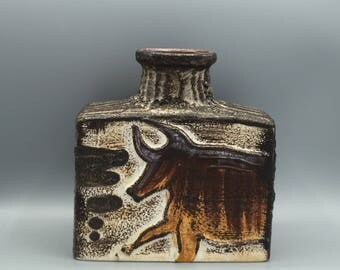 "Scheurich  281 - 19 ,,Montignac""  stylish design,  Fat Lava vintage Mid Century Modern rectangular  vase  1960s West Germany Pottery . WGP."