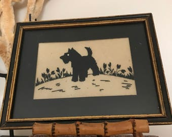 FREE SHIPPING - Vintage Framed Felted Scottie, Terrier Picture, 1930's
