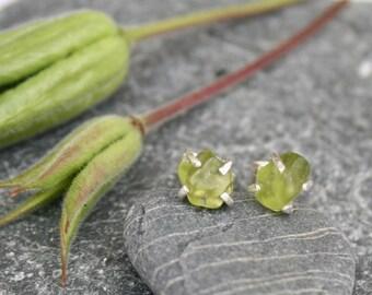 Peridot earrings, green earrings, silver earrings, claw set stud earrings, stud earrings, nature lover gift, gift for her, august birthstone
