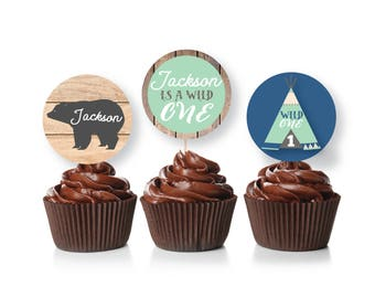 Wild One cupcake toppers or bunting - Customized, Printable, Digital Files, Boy's Wild Party Party, First Birthday, Woodland Animals, Tepee