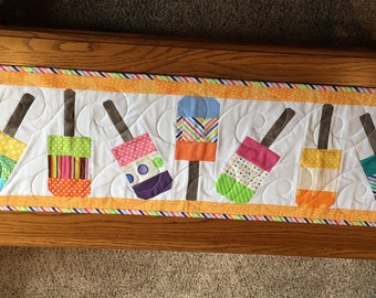 Pop Sickle Table Runner-Summer Time Table Runner-Picnic Table Runner-Handmade Quilted Table Runner 101/2 X 35