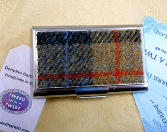 Harris Tweed Business card case blue, beige and red plaid stainless steel  credit card holder in box, christmas or birthday gift for him