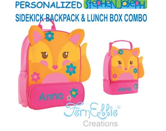 Personalized Stephen Joseph FOX Sidekick Backpack and Lunch Pal Combo, Kids Backpack, Kids Lunch Box.