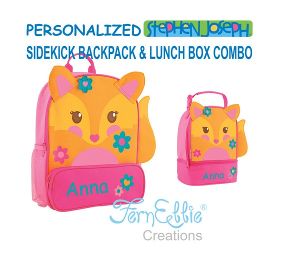 Personalized Stephen Joseph FOX Sidekick Backpack and Lunch Pal Combo.