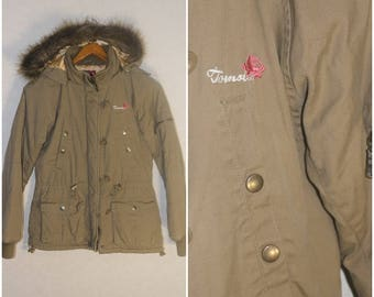 Winter Jacket Beige Jacket Womens TOMSTER USA with a hood Small Size