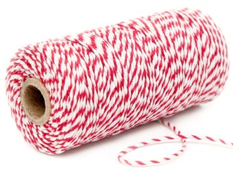 Red Baker's Twine 10m - Red and White Packaging String 10m