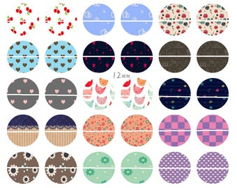 17 # 54 Digital Images/designs for 12mm round cabochon cute patterns
