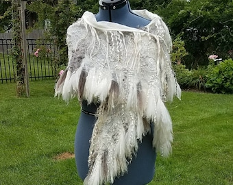 Felted Merino Wool Bridal Shawl.  Lacy Cobweb Felted Scarf Made with Raw Locks in White and Silver Grey. Luxurious Cashmere Soft Wrap. Boho.