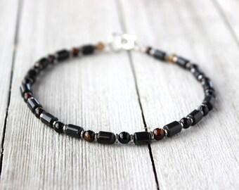 Men's Black Bracelet, Men's Jewelry, Unisex Bracelet, Christmas Gift for Him, Boyfriend Gift, Husband Gift