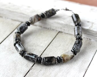 Men Black Bead Bracelet