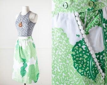 70s Vested Gentress Skirt, Faux Wrap Skirt, 70s Style Skirt, Novelty Print 70s Skirt, Boho Skirt, Green Skirt, novelty Skirt, 70s Clothing