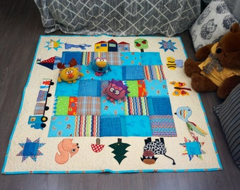 Baby Play Mat, Baby Activity Mat, Baby Floor Mat, Montessori Quilt for Babies, Colorful Nursery Decor, Sensory Blanket for Children
