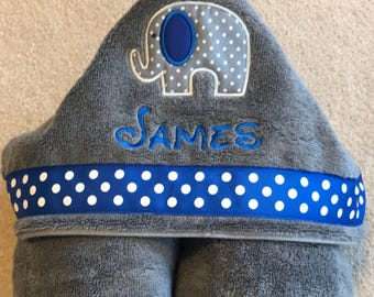 Boys Personalized Hooded Towel with Elephant