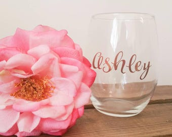 Stemless wine glass with rose gold/copper lettering. Customize. Wedding party. Bridal gifts.