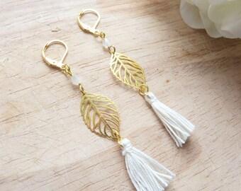 Gold leaf and ivory Pom Pom earrings