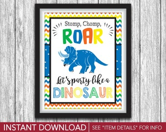 """Party Like A Dinosaur Sign - Printable Dinosaur Birthday Party Decorations - 8""""x10"""" Welcome Sign - DIY Digital File"""
