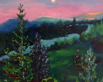 Small Oil Painting, Emerald colors, Small Landscape Painting, rural painting, nighttime painting