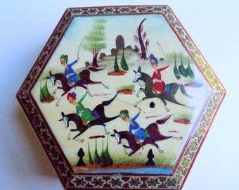 50s Wooden Hexagon Decorative Box Asian Themed