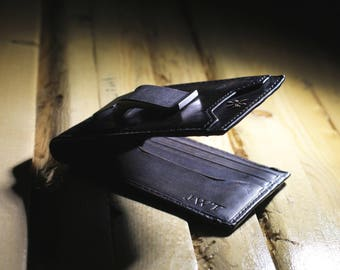 DEACON I.D. Bifold Front Pocket Wallet•BLACK•PERSONALIZED•Mens Leather Wallet• Money Clip Wallet•Mens Gifts•Anniversary Gift•Groomsmen Gift