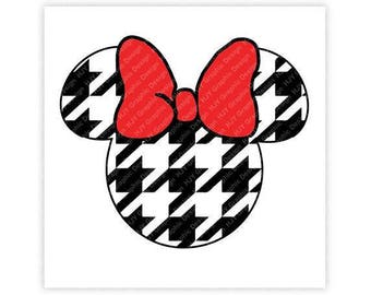Disney, Minnie Mouse, Houndstooth, Pattern, Bow, Head, Mickey, Ears, Icon, Illustration, TShirt Design, Cut File, svg, pdf, eps, png, dxf
