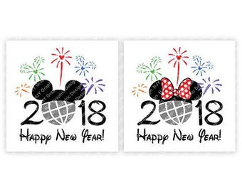 Disney, Happy New Year, 2018, Epcot, Fireworks, Mickey, Mouse, Head, Ears, Digital, Download, TShirt, Cut File, SVG, Iron on, Transfer