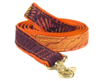 Batik Dog Leash, Marble Puppy Lead, Orange and Purple Pet Leash, 4 foot Doggy, 5 Foot Doggie Lead, 6 Foot Dog Leash, Fall Matching Dog Lead