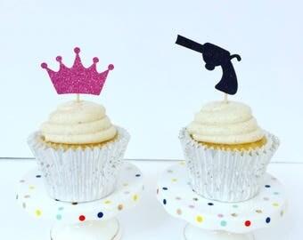 Guns or Glitter Cupcake Toppers / Gender Reveal Cake Topper / Set of 12