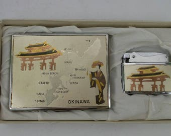 Vintage Okinawa Cigarette Case & Lighter!!