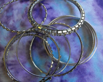 Silver Bangle Bracelets Lot, Rhinestone Bangles