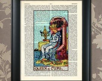 Queen of Cups, Tarot Card Print, Tarot Card Poster, Tarot Print, Tarot art, Tarot wall art, Tarot Gift, Tarot Cards,Tarot Deck, Minor Arcana