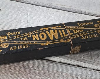 Vintage/antique box for 'The Nowill Razor'. John Nowill Crosskeys straight razor box. Please scroll down for full details if on mobile.