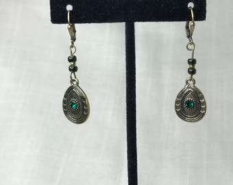 Green and Antique Gold Leverback Earrings