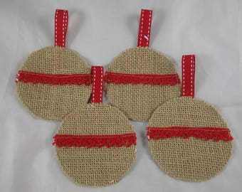 Christmas burlap balls Noel32 - 4 ornaments and Red lace