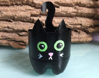 Black Cat Planter Hand-painted (upcycled from plastic bottle)