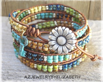 Bohemian Beaded Leather Wrap Bracelet/ Seed Bead Leather Wrap Bracelet/ Beaded Leather Bracelet/  Seed Bead Boho Wrap Bracelet.