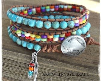 Beaded Leather Wrap/ Turquoise Leather Wrap Bracelet/ Native American Leather Wrap Bracelet/ Turquoise Leather Bracelet/ Boho Wrap Bracelet.