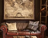"""Pirate map of the World 1733 Old nautical chart in 4 sizes up to 48x36"""" (120x90 cm) Extra large grunge world map - Limited Edition of 100"""