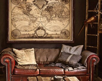 "Pirate map of the World 1733 Old nautical chart in 4 sizes up to 48x36"" (120x90 cm) Extra large grunge world map - Limited Edition of 100"