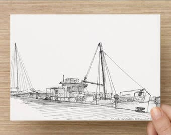 Ink sketch of the Mildred Belle Oyster Boat in Baltimore, Maryland - Drawing, Art, Pen and Ink, Wood Boat, Dock, 5x7, 8x10, Print