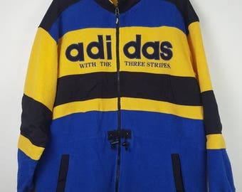 Vintage Adidas spell out big logo colour block fleece jacket