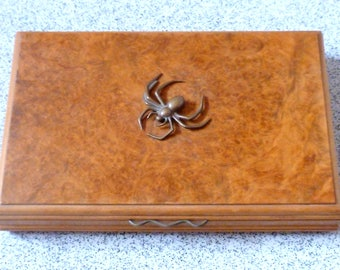 Vintage Maple & Mahogany Cigar Box (with spider)
