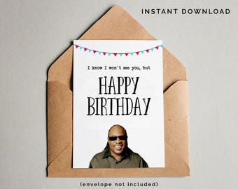 Stevie Wonder Birthday Card, Funny Birthday Card, Rude Humor, Stevie Wonder Music, Internet Meme, Naughty Birthday Card, Instant Download
