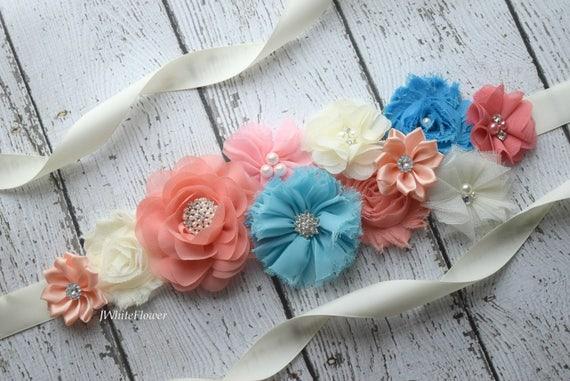 Maternity sash belt, Coral blue ivory Sash  , sash,  flower Belt, maternity sash, baby shower gift, flower girl belt, beach sash