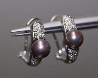 Estate 14k White Gold natural Black Pearl & Diamond Omega Back clip Earrings