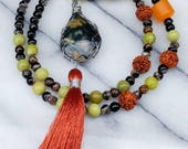 Ocean jasper necklace with tassel and rudashaka