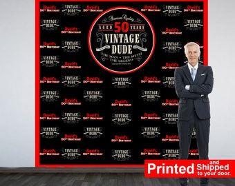 Vintage Dude Red Party Personalized Photo Backdrop, Milestone Photo Backdrop- 50th Birthday Photo Backdrop - Step and Reapet Backdrop