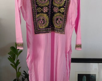 Vintage/ Pink Pakistani Tunic Dress With Black And Gold Embroidered Details