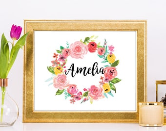 "CUSTOMIZED Floral Calligraphy Name Sign, 8x10"" or 5x7"", Beautiful floral modern design, LANDSCAPE or PORTRAIT layouts available."